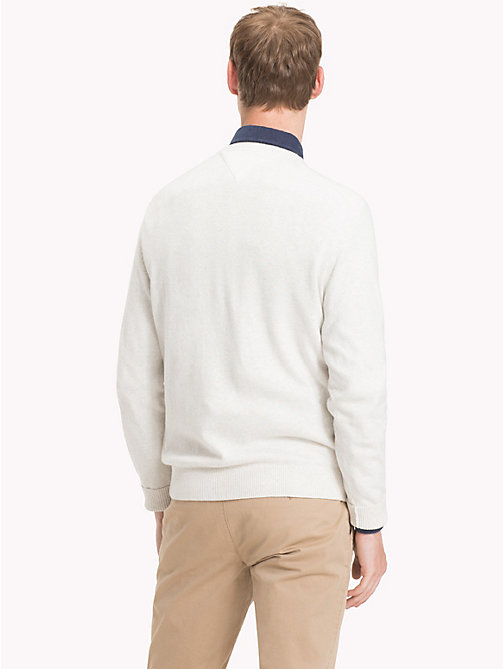 TOMMY HILFIGER Cotton Cashmere Crew Neck Jumper - WHISPER WHITE HEATHER - TOMMY HILFIGER Jumpers - detail image 1
