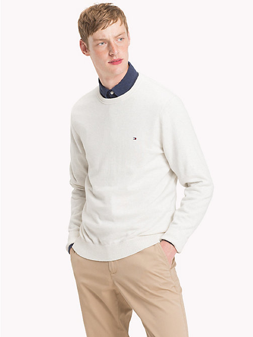 TOMMY HILFIGER Cotton Cashmere Crew Neck Jumper - WHISPER WHITE HEATHER - TOMMY HILFIGER Jumpers - main image