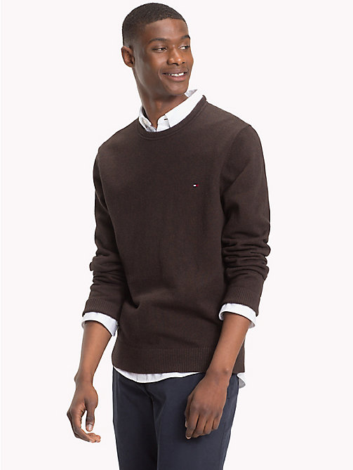 TOMMY HILFIGER Cotton Cashmere Crew Neck Jumper - DELICIOSO HEATHER - TOMMY HILFIGER Jumpers - main image