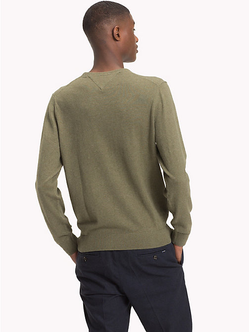 TOMMY HILFIGER Cotton Cashmere Crew Neck Jumper - DUSTY OLIVE HEATHER - TOMMY HILFIGER Jumpers - detail image 1