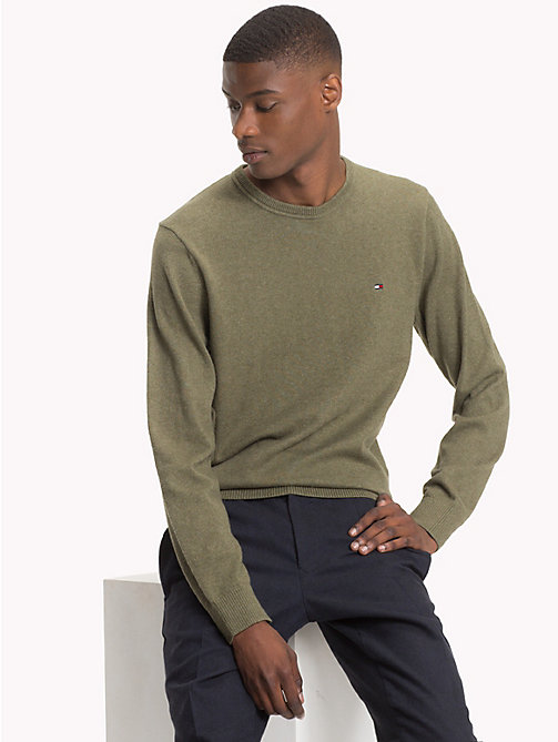 TOMMY HILFIGER Cotton Cashmere Crew Neck Jumper - DUSTY OLIVE HEATHER - TOMMY HILFIGER Jumpers - main image