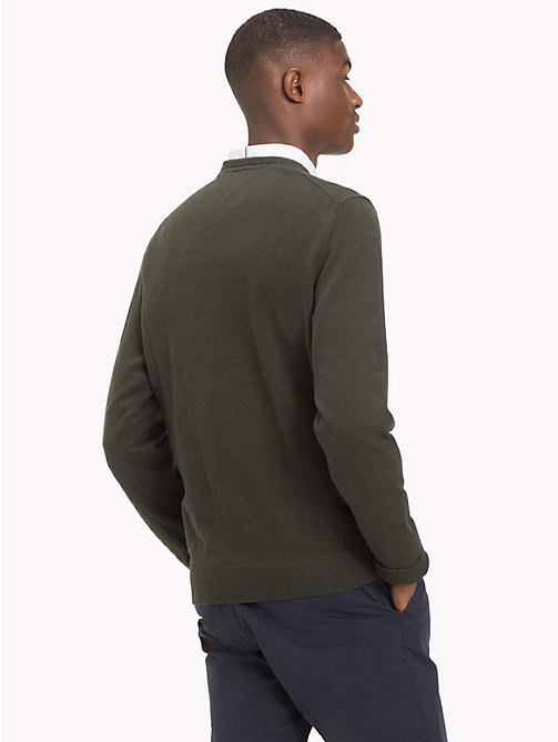 TOMMY HILFIGER Cotton Cashmere Crew Neck Jumper - ROSIN HEATHER - TOMMY HILFIGER Jumpers - detail image 1