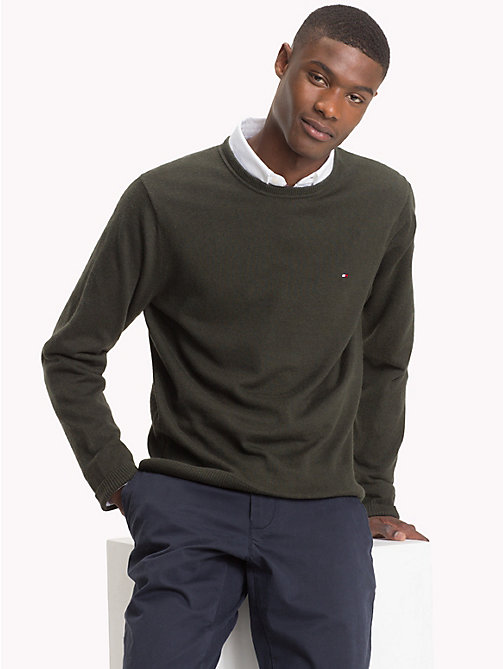 TOMMY HILFIGER Cotton Cashmere Crew Neck Jumper - ROSIN HEATHER - TOMMY HILFIGER Jumpers - main image