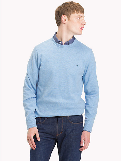TOMMY HILFIGER Cotton Cashmere Crew Neck Jumper - ALLURE HEATHER - TOMMY HILFIGER Jumpers - main image