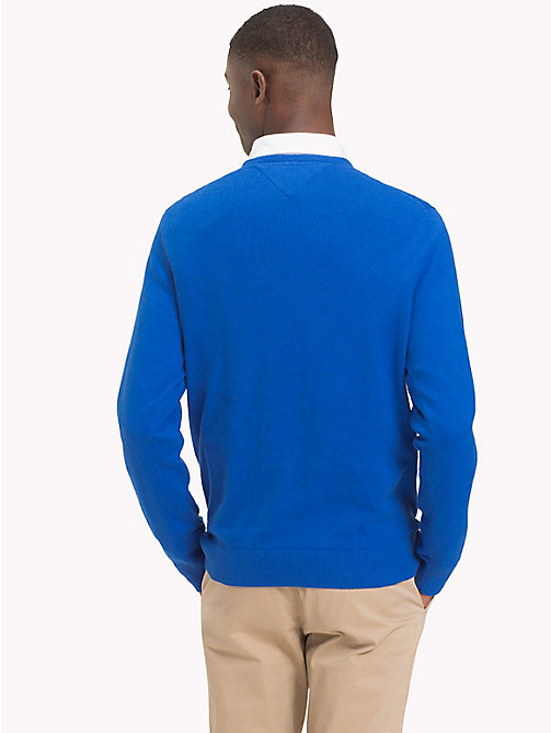 TOMMY HILFIGER Cotton Cashmere Crew Neck Jumper - BLUE LOLITE HEATHER - TOMMY HILFIGER Jumpers - detail image 1