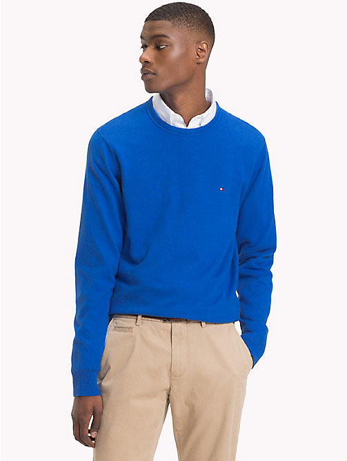 TOMMY HILFIGER Cotton Cashmere Crew Neck Jumper - BLUE LOLITE HEATHER - TOMMY HILFIGER Jumpers - main image