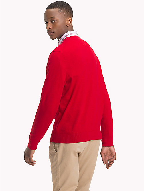 TOMMY HILFIGER Cotton Cashmere Crew Neck Jumper - HAUTE RED HTR - TOMMY HILFIGER Jumpers - detail image 1