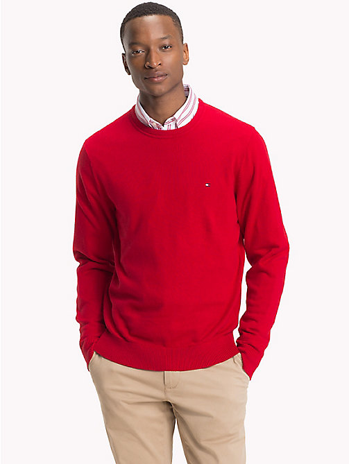 TOMMY HILFIGER Cotton Cashmere Crew Neck Jumper - HAUTE RED HTR - TOMMY HILFIGER Jumpers - main image