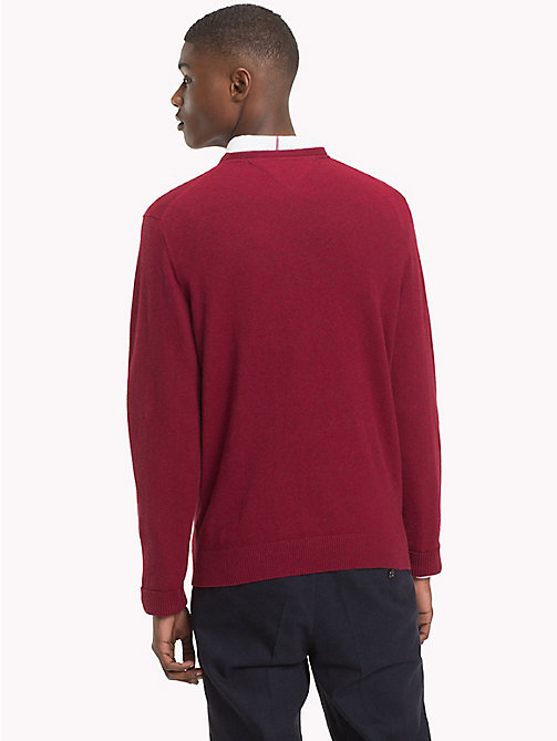 TOMMY HILFIGER Cotton Cashmere Crew Neck Jumper - RHUBARB HEATHER - TOMMY HILFIGER NEW IN - detail image 1