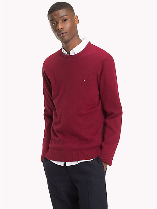 TOMMY HILFIGER Cotton Cashmere Crew Neck Jumper - RHUBARB HEATHER - TOMMY HILFIGER NEW IN - main image