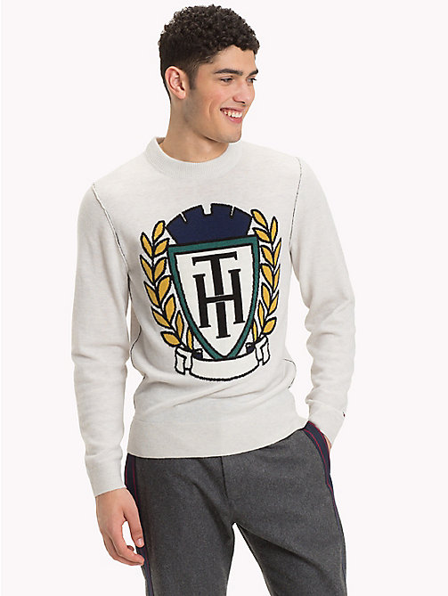 TOMMY HILFIGER Crest Logo Crew Neck Jumper - SNOW WHITE HEATHER - TOMMY HILFIGER Jumpers - main image