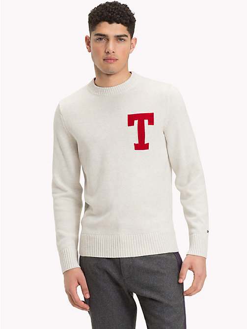 TOMMY HILFIGER Monogram Logo Crew Neck Jumper - WHISPER WHITE HEATHER - TOMMY HILFIGER NEW IN - main image
