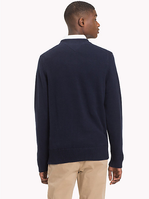TOMMY HILFIGER Monogram Logo Crew Neck Jumper - 413-SKY CAPTAIN - TOMMY HILFIGER Jumpers - detail image 1