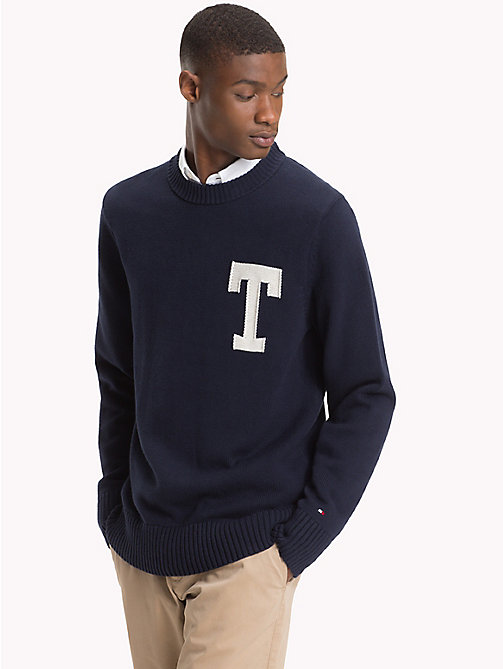 TOMMY HILFIGER Monogram Logo Crew Neck Jumper - 413-SKY CAPTAIN - TOMMY HILFIGER Jumpers - main image