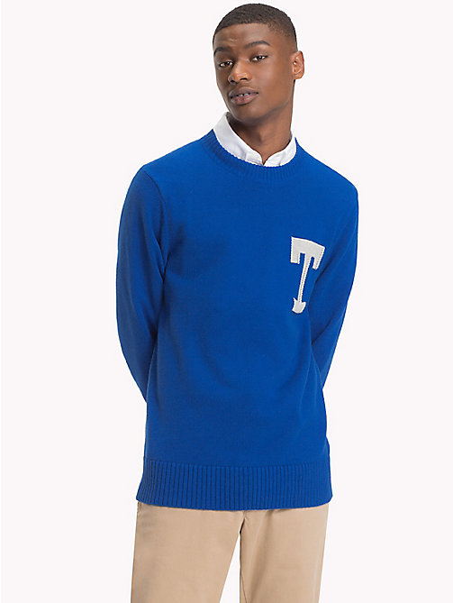 TOMMY HILFIGER Monogram Logo Crew Neck Jumper - BLUE LOLITE - TOMMY HILFIGER Jumpers - main image
