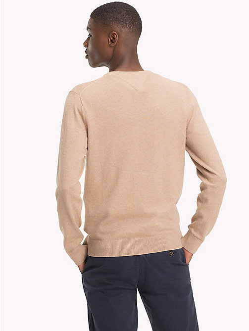 TOMMY HILFIGER Cotton Cashmere V-Neck Jumper - BATIQUE KHAKI HEATHER - TOMMY HILFIGER Jumpers - detail image 1