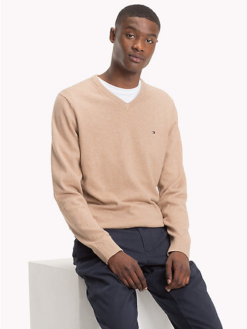 TOMMY HILFIGER Cotton Cashmere V-Neck Jumper - BATIQUE KHAKI HEATHER - TOMMY HILFIGER Jumpers - main image