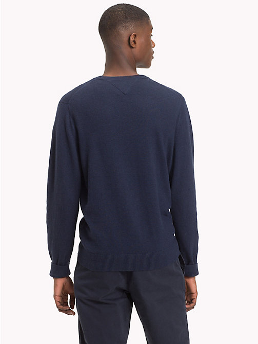 TOMMY HILFIGER Cotton Cashmere V-Neck Jumper - SKY CAPTAIN HEATHER - TOMMY HILFIGER Clothing - detail image 1