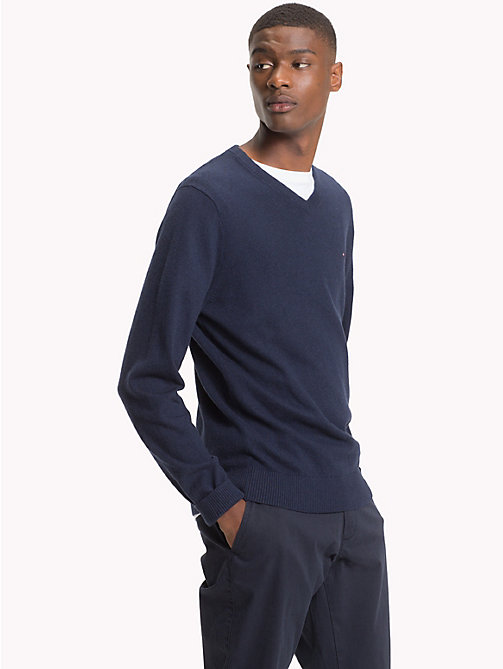 TOMMY HILFIGER Cotton Cashmere V-Neck Jumper - SKY CAPTAIN HEATHER - TOMMY HILFIGER Clothing - main image