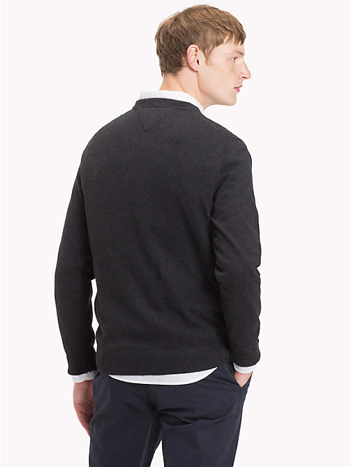 TOMMY HILFIGER Cotton Cashmere V-Neck Jumper - JET BLACK HEATHER - TOMMY HILFIGER Sweatshirts & Knitwear - detail image 1