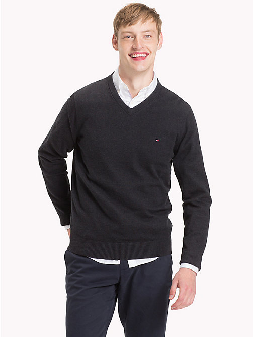 TOMMY HILFIGER Cotton Cashmere V-Neck Jumper - JET BLACK HEATHER - TOMMY HILFIGER Sweatshirts & Knitwear - main image
