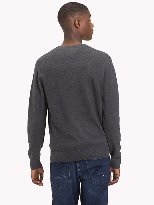 TOMMY HILFIGER Cotton Cashmere V-Neck Jumper - CHARCOAL HTR - TOMMY HILFIGER Jumpers - detail image 1