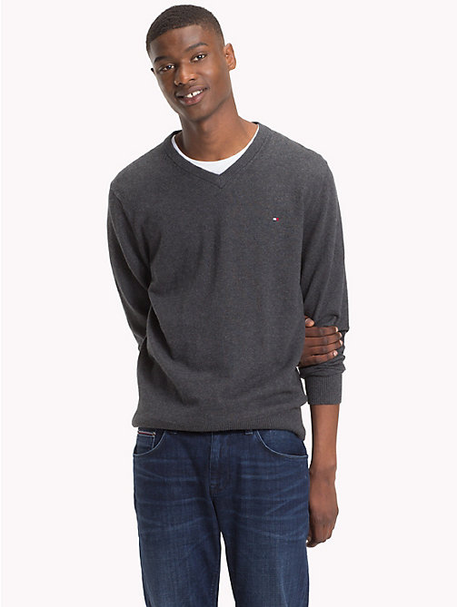TOMMY HILFIGER Cotton Cashmere V-Neck Jumper - CHARCOAL HTR - TOMMY HILFIGER Jumpers - main image
