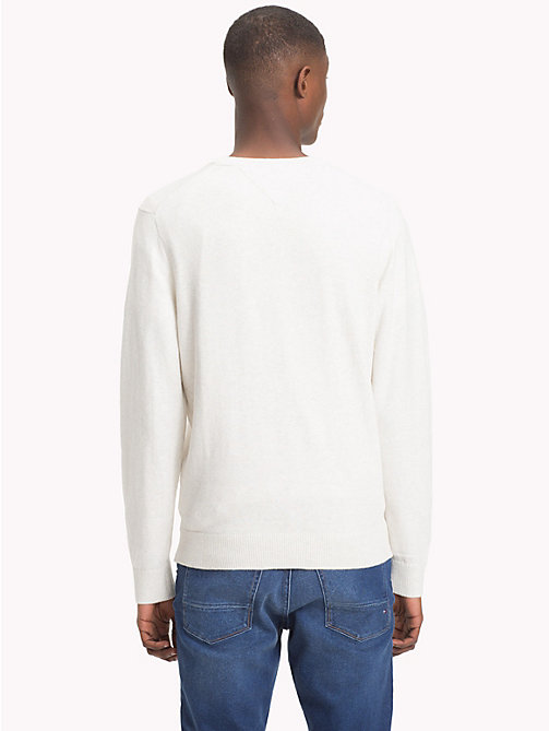 TOMMY HILFIGER Cotton Cashmere V-Neck Jumper - WHISPER WHITE HEATHER - TOMMY HILFIGER Jumpers - detail image 1