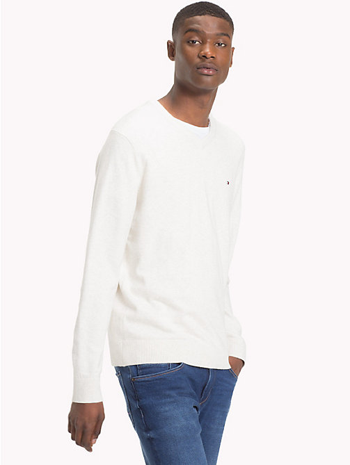 TOMMY HILFIGER Cotton Cashmere V-Neck Jumper - WHISPER WHITE HEATHER - TOMMY HILFIGER Jumpers - main image