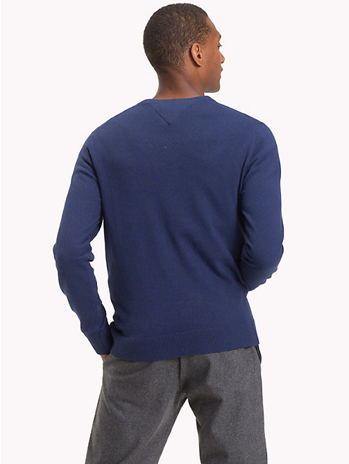 TOMMY HILFIGER Cotton Cashmere V-Neck Jumper - MEDIEVAL BLUE HTR - TOMMY HILFIGER Jumpers - detail image 1