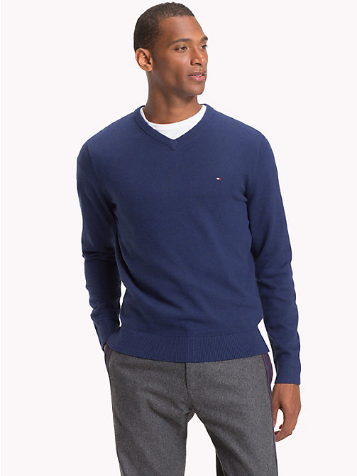 TOMMY HILFIGER Cotton Cashmere V-Neck Jumper - MEDIEVAL BLUE HTR - TOMMY HILFIGER Jumpers - main image