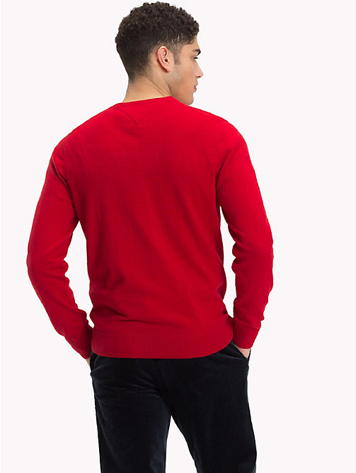 TOMMY HILFIGER Cotton Cashmere V-Neck Jumper - HAUTE RED HTR - TOMMY HILFIGER Jumpers - detail image 1
