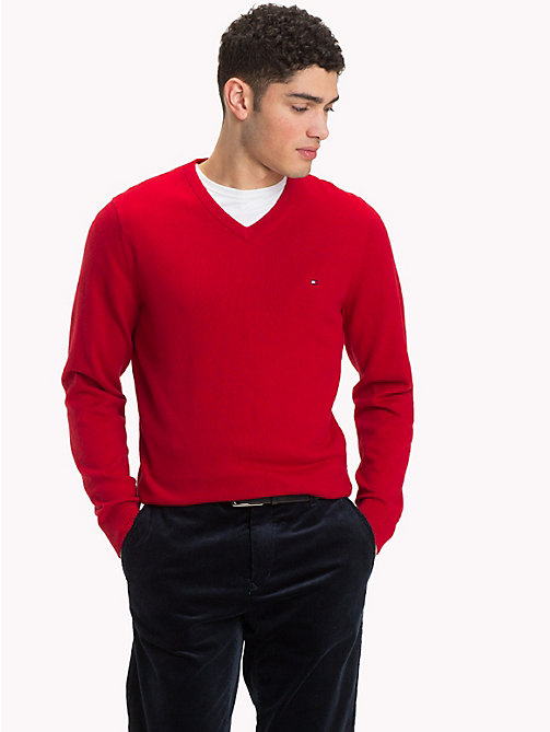 TOMMY HILFIGER Cotton Cashmere V-Neck Jumper - HAUTE RED HTR - TOMMY HILFIGER Jumpers - main image
