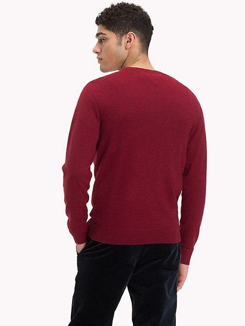 TOMMY HILFIGER Cotton Cashmere V-Neck Jumper - RHUBARB HEATHER - TOMMY HILFIGER Jumpers - detail image 1