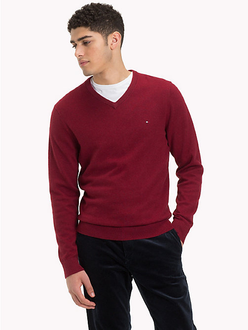 TOMMY HILFIGER Cotton Cashmere V-Neck Jumper - RHUBARB HEATHER - TOMMY HILFIGER Jumpers - main image