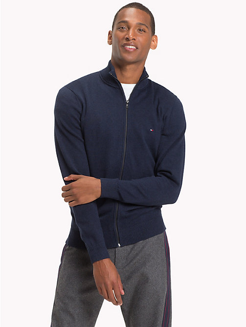 TOMMY HILFIGER Cotton Cashmere Zip-Thru - SKY CAPTAIN HEATHER - TOMMY HILFIGER NEW IN - main image