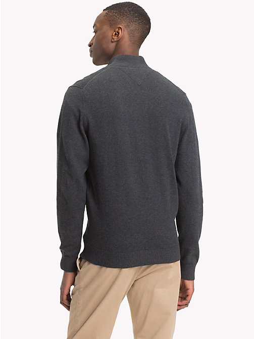 TOMMY HILFIGER Cotton Cashmere Zip-Thru - CHARCOAL HTR - TOMMY HILFIGER Clothing - detail image 1