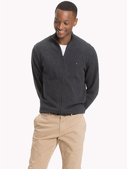 TOMMY HILFIGER Cotton Cashmere Zip-Thru - CHARCOAL HTR - TOMMY HILFIGER Clothing - main image