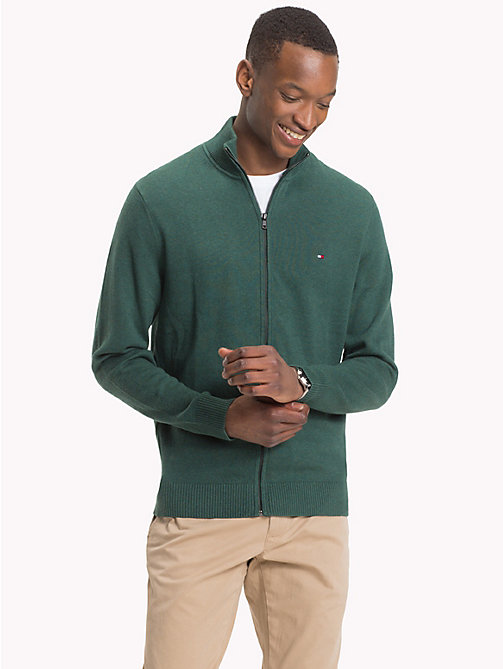 TOMMY HILFIGER Cotton Cashmere Zip-Thru - RAIN FOREST HEATHER - TOMMY HILFIGER Cardigans - main image
