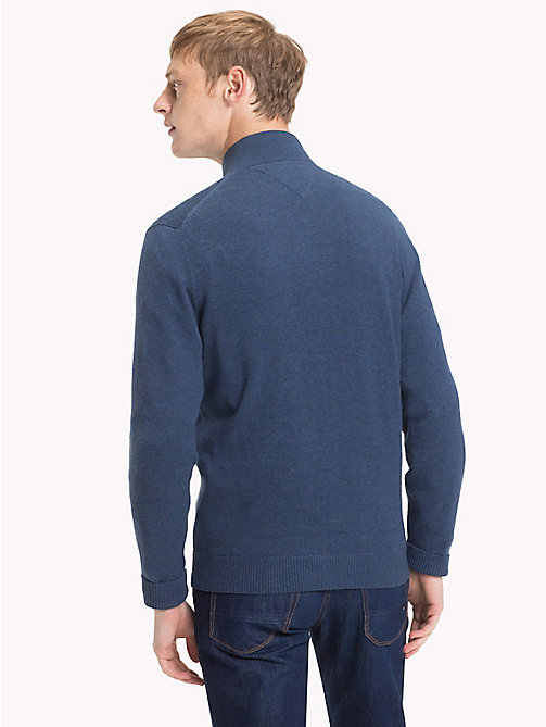 TOMMY HILFIGER Cotton Cashmere Zip-Thru - OMBRE BLUE HEATHER - TOMMY HILFIGER Clothing - detail image 1