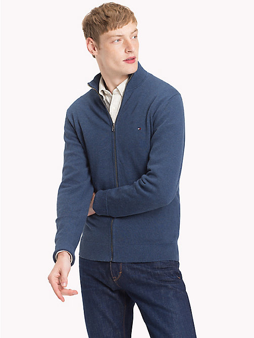 TOMMY HILFIGER Cotton Cashmere Zip-Thru - OMBRE BLUE HEATHER - TOMMY HILFIGER Cardigans - main image