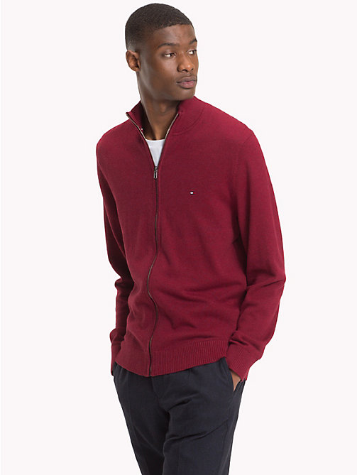 TOMMY HILFIGER Cotton Cashmere Zip-Thru - RHUBARB HEATHER - TOMMY HILFIGER Clothing - main image