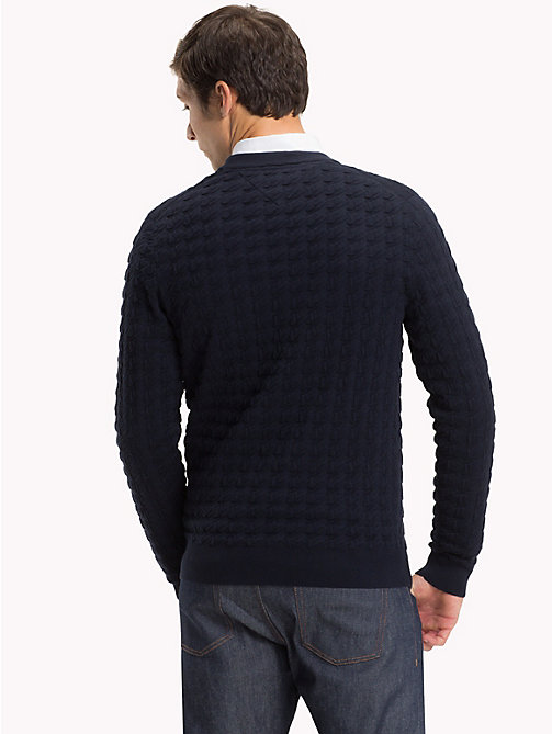 TOMMY HILFIGER Houndstooth Crew Neck Jumper - 413-SKY CAPTAIN - TOMMY HILFIGER NEW IN - detail image 1