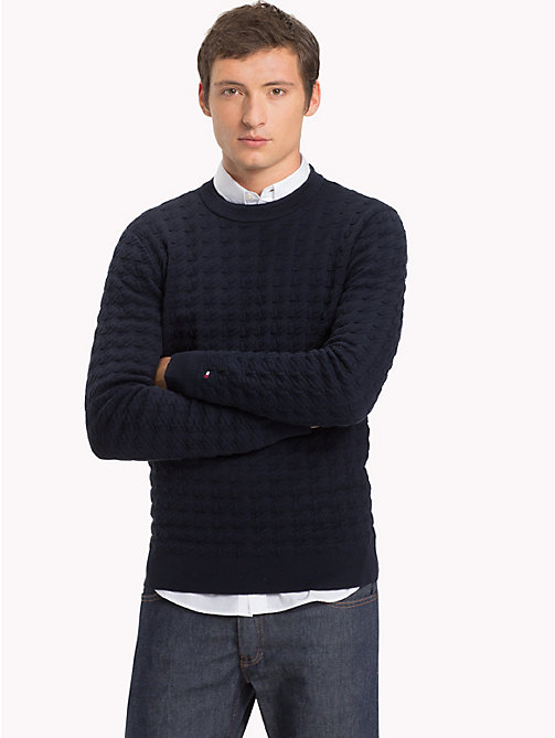 TOMMY HILFIGER Houndstooth Crew Neck Jumper - 413-SKY CAPTAIN - TOMMY HILFIGER NEW IN - main image