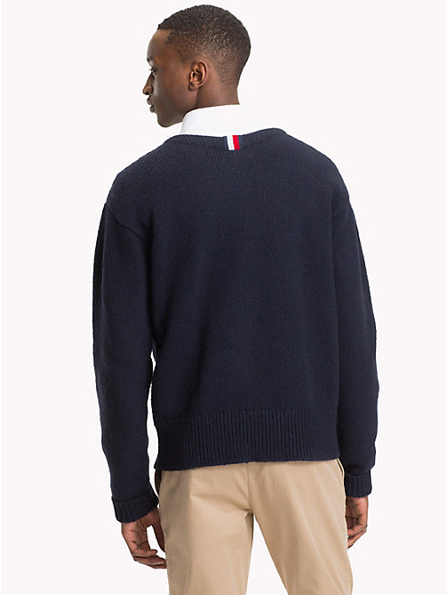TOMMY HILFIGER Monogram Crew Neck Jumper - 413-SKY CAPTAIN - TOMMY HILFIGER NEW IN - detail image 1