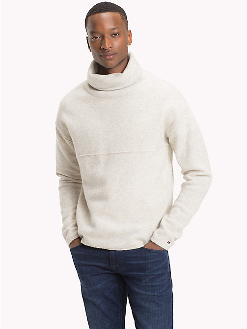 TOMMY HILFIGER Lambswool Blend High Neck Jumper - SNOW WHITE HEATHER - TOMMY HILFIGER Jumpers - main image