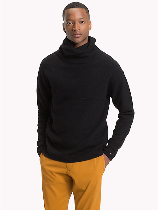 TOMMY HILFIGER Lambswool Blend High Neck Jumper - JET BLACK - TOMMY HILFIGER Jumpers - main image