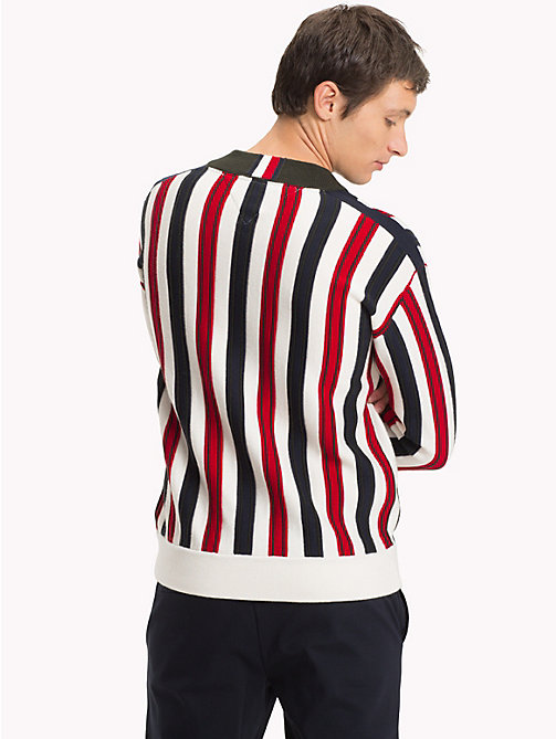 TOMMY HILFIGER Stripe Relaxed Fit V-Neck Jumper - SNOW WHITE - TOMMY HILFIGER Clothing - detail image 1