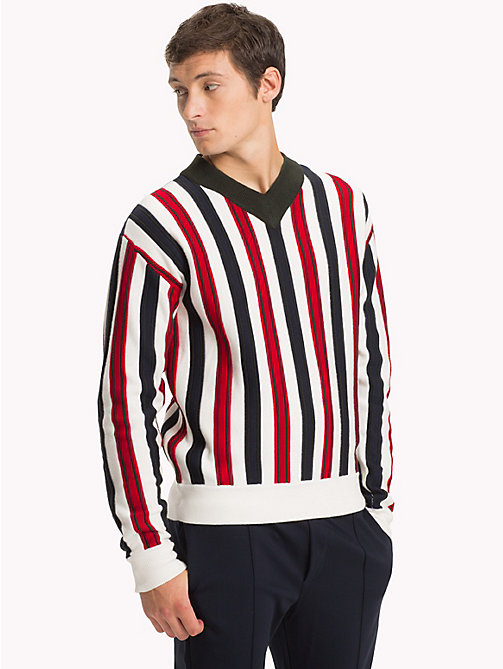 TOMMY HILFIGER Stripe Relaxed Fit V-Neck Jumper - SNOW WHITE - TOMMY HILFIGER NEW IN - main image