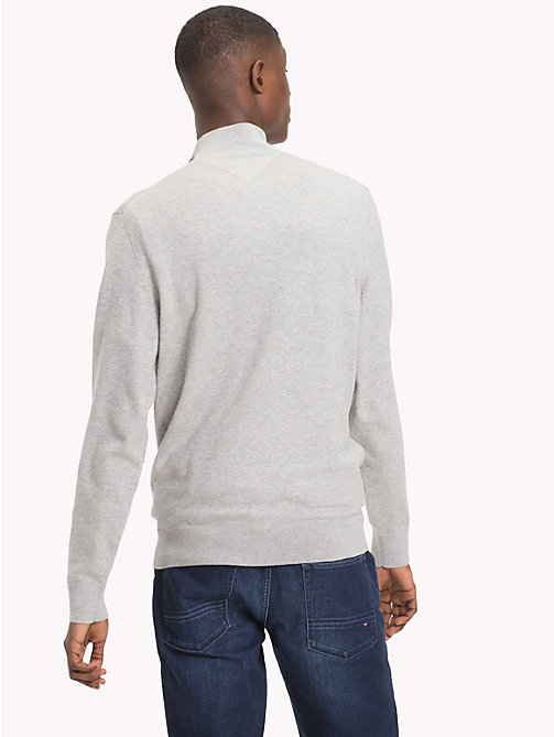 TOMMY HILFIGER Button-Neck Cotton Silk Jumper - CLOUD HTR - TOMMY HILFIGER Jumpers - detail image 1